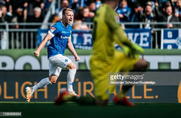 Fabian Holland of Darmstadt celebrates the first goal for his team during the Second Bundesliga match between SV Darmstadt 98 and SV Werder Bremen at...