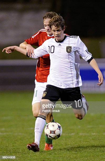 Fabian Huerzeler of Germany fights Adam Hajdu of Hungary during the U17 Euro Qualifier match between Hungary and Germany at the ESP Stadium on March...