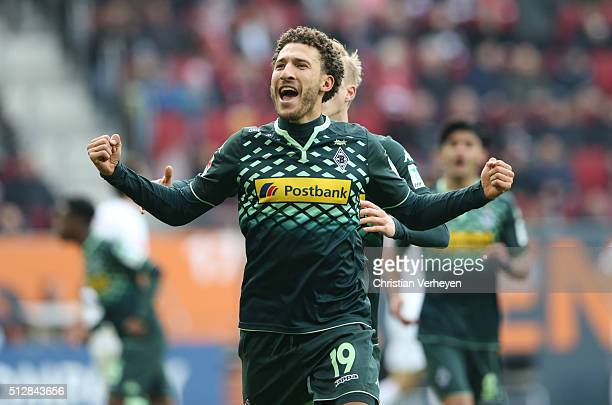 Fabian Johnson of Borussia Moenchengladbach celebrates after his team's second goal during the Bundesliga match between FC Augsburg and Borussia...