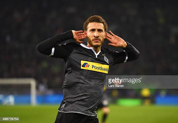 Fabian Johnson of Borussia Moenchengladbach celebrates as he scores their second goal during the UEFA Champions League Group D match between Borussia...
