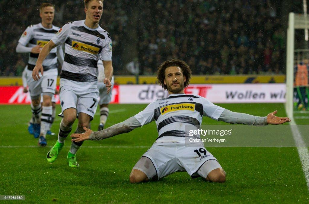 Fabian Johnson of Borussia Moenchengladbach score his teams second goal during the Bundesliga Match between Borussia Moenchengladbach and FC Schalke 04 at Borussia-Park on March 04, 2017 in Moenchengladbach, Germany.