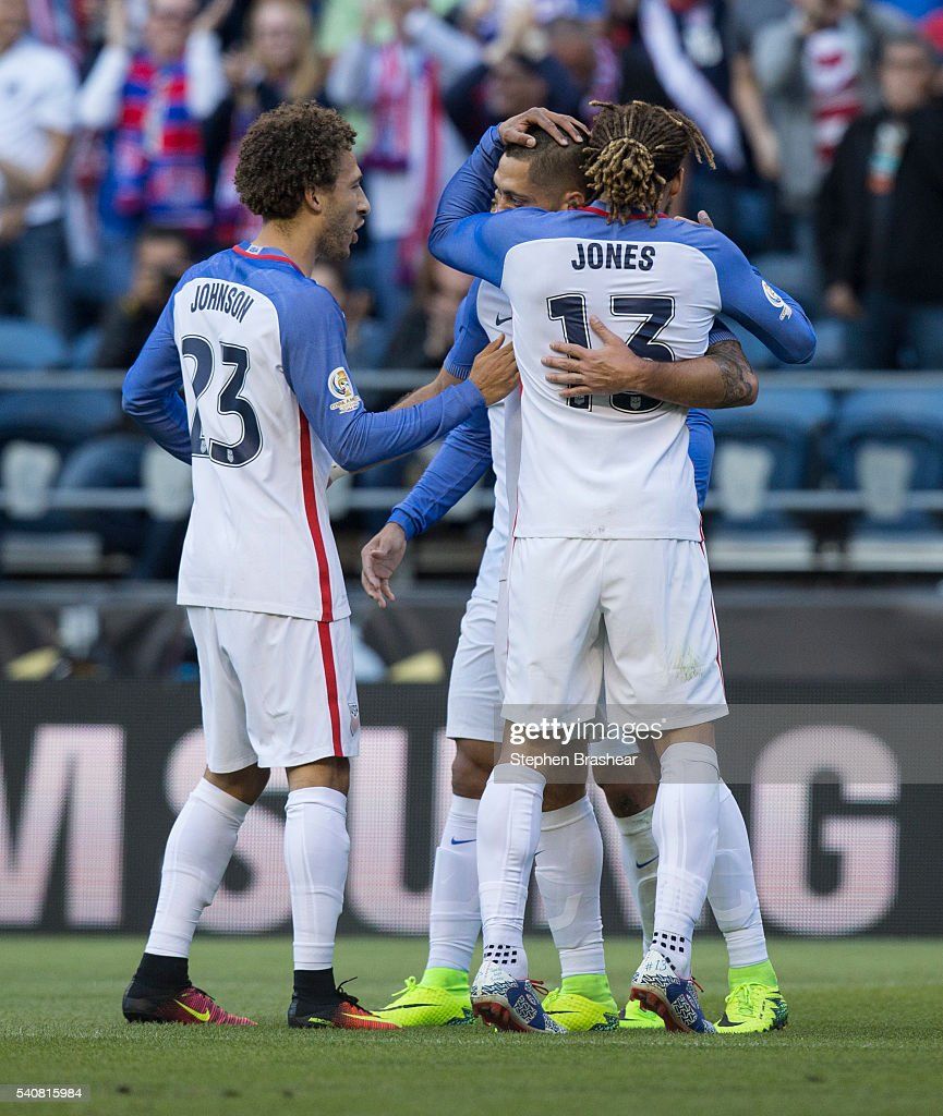 Fabian Johnson (L) of Jermaine Jones (R) and Clint Dempsey of the United States celebrate the first goal of their team scored by Clint Dempsey during a Quarterfinal match between USA and Ecuador at CenturyLink Field as part of Copa America Centenario US 2016 on June 16, 2016 in Seattle, Washington, US.