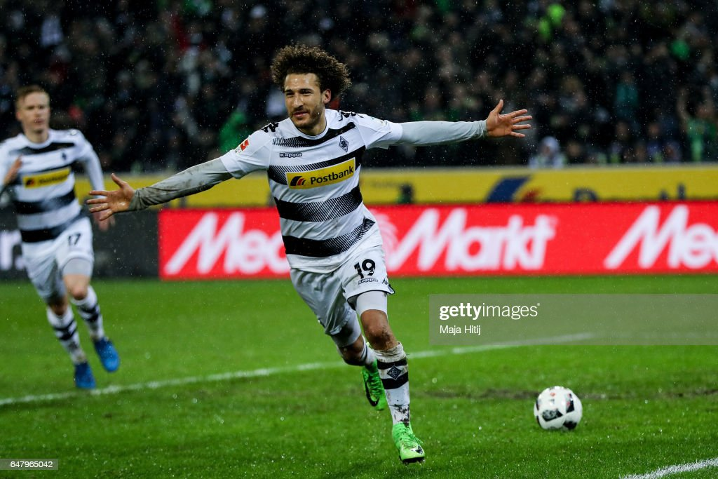 Fabian Johnson of Moenchengladbach celebrates wafter scoring his team's second goal to make it 2-1 during the Bundesliga match between Borussia Moenchengladbach and FC Schalke 04 at Borussia-Park on March 4, 2017 in Moenchengladbach, Germany.