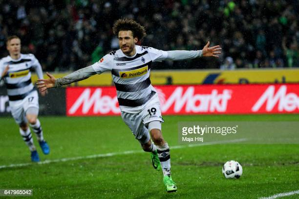 Fabian Johnson of Moenchengladbach celebrates wafter scoring his team's second goal to make it 21 during the Bundesliga match between Borussia...