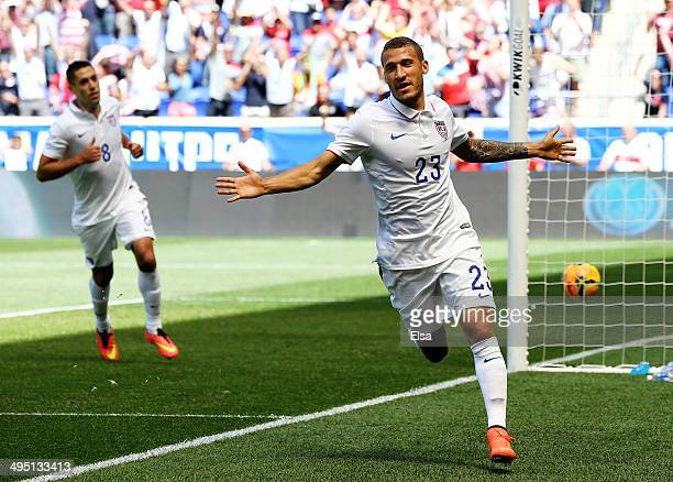 Fabian Johnson of the United States celebrates his goal in the first half against the Turkey during an international friendly match at Red Bull Arena...