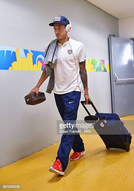 Fabian Johnson of the United States is seen upon arrival prior to the 2014 FIFA World Cup Brazil Group G match between USA and Portugal at Arena...