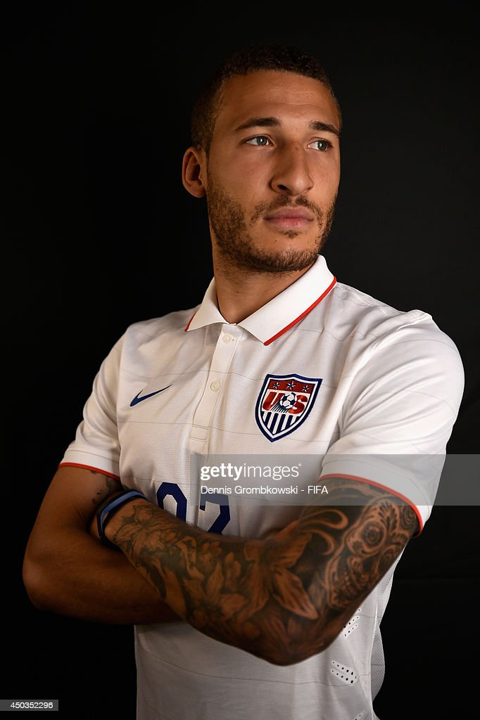 Fabian Johnson of the United States poses during the Official FIFA World Cup 2014 portrait session on June 9, 2014 in Sao Paulo, Brazil.