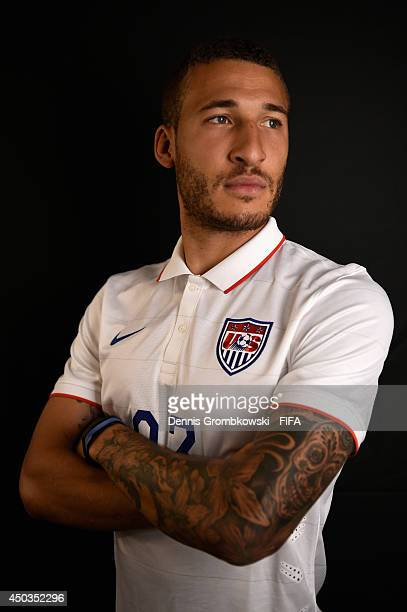 Fabian Johnson of the United States poses during the Official FIFA World Cup 2014 portrait session on June 9 2014 in Sao Paulo Brazil