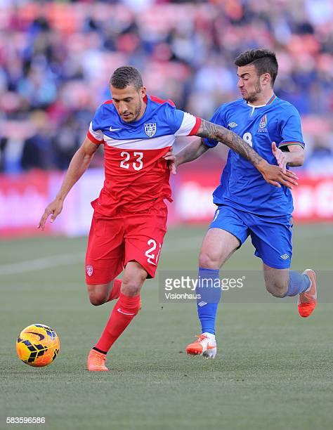 Fabian Johnson of USA and Gara Garayev of Azerbaijan during the International Friendly match between USA and Azerbaijan at Candlestick Park in San...