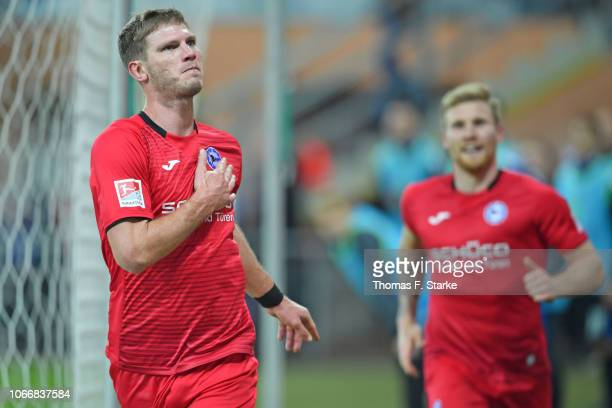 Fabian Klos and Andreas Voglsammer of Bielefeld celebrate during the Second Bundesliga match between SC Paderborn 07 and DSC Arminia Bielefeld at...