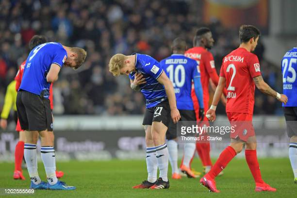 Fabian Klos and Andreas Voglsammer of Bielefeld celebrate their teams first goal during the Second Bundesliga match between DSC Arminia Bielefeld and...