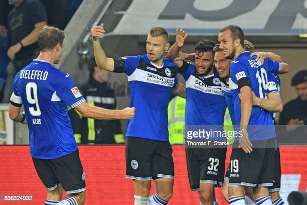 Fabian Klos Florian Hartherz Keanu Staude Konstantin Kerschbaumer and Manuel Prietl of Bielefeld celebrate their teams second goal during the Second...
