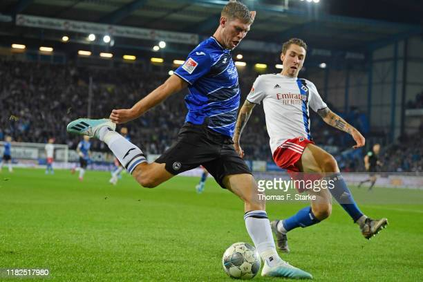 Fabian Klos of Bielefeld and Adrian Fein of Hamburg fuight for the ball during the Second Bundesliga match between DSC Arminia Bielefeld and...