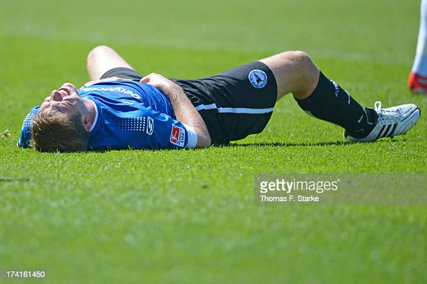 Fabian Klos of Bielefeld lays dejected on the pitch during the Second Bundesliga match between Greuther Fuerth and Arminia Bielefeld at the Trolli...