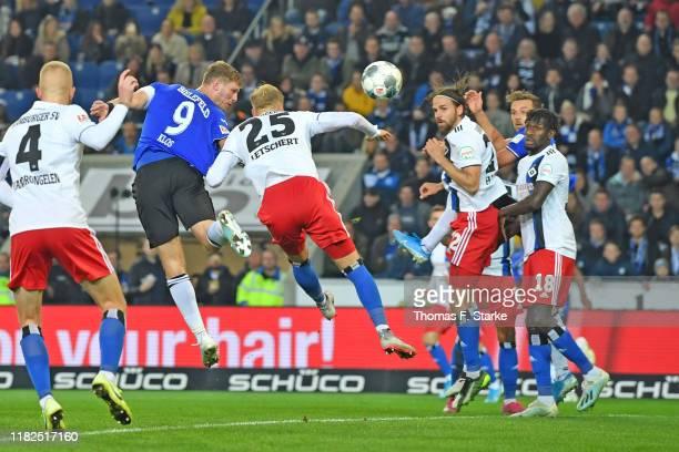 Fabian Klos of Bielefeld scores during the Second Bundesliga match between DSC Arminia Bielefeld and Hamburger SV at Schueco Arena on October 21,...