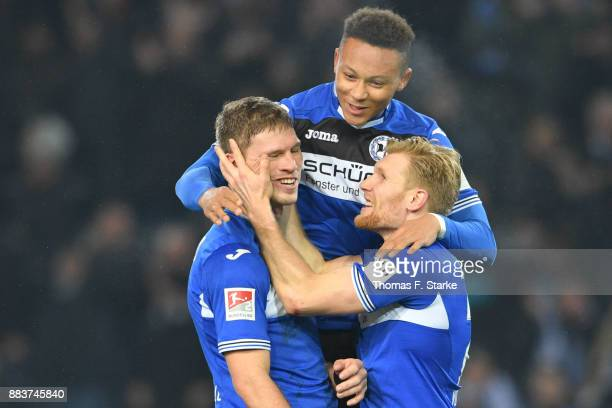 Fabian Klos Roberto Massimo and Andreas Voglsammer of Bielefeld celebrate during the Second Bundesliga match between DSC Arminia Bielefeld and FC St...