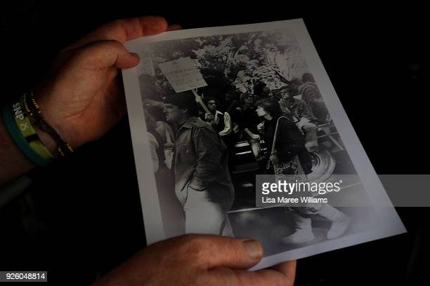 Fabian LoSchiavo a Mardi Gras 78er holds a photograph of him attending a protest 40 years ago on March 1, 2018 in Sydney, Australia. Fabian LoSchiavo...