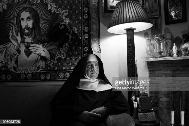 Fabian LoSchiavo a Mardi Gras 78er poses at home on March 1 2018 in Sydney Australia Fabian LoSchiavo also known as 'Mother Inferior' wears a habit...