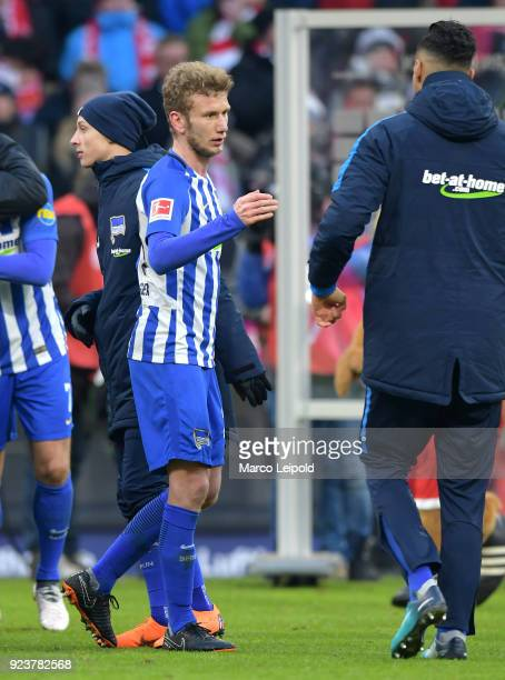 Fabian Lustenberger and Davie Selke of Hertha BSC after the Bundesliga match between FC Bayern Muenchen and Hertha BSC at the Allianz Arena on...