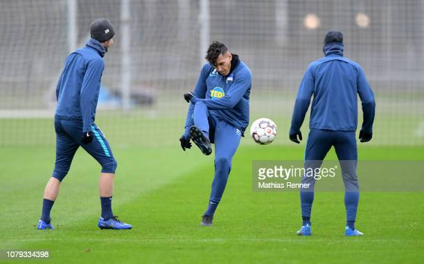 Fabian Lustenberger and Davie Selke of Hertha BSC during training at the Schenkendorfplatz on January 08 2019 in Berlin Germany