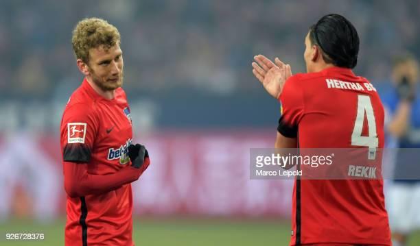 Fabian Lustenberger and Karim Rekik of Hertha BSC during the first Bundesliga match between Schalke 04 against Hertha BSC at the VeltinsArena on...