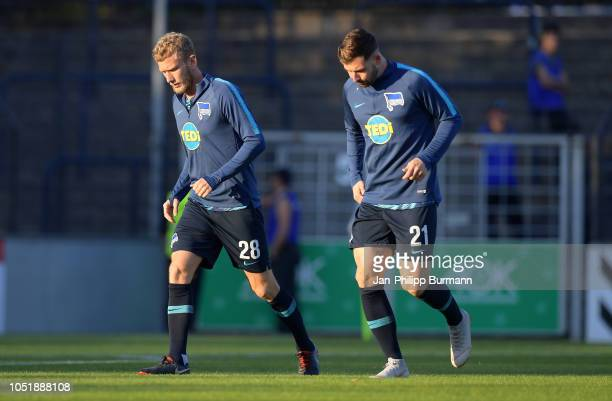 Fabian Lustenberger and Marvin Plattenhardt of Hertha BSC before the game between Hertha BSC and the SV Babelsberg 03 at the KarlLiebknechtStadion on...