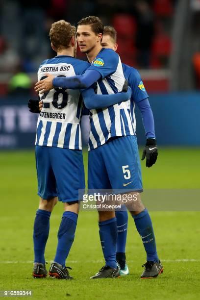 Fabian Lustenberger and Niklas Stark of Berlin celebrate after the Bundesliga match between Bayer 04 Leverkusen and Hertha BSC at BayArena on...