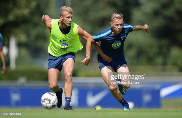 Fabian Lustenberger and Ondrej Duda of Hertha BSC during the training at the Schenkendorfplatz on july 30 2018 in Berlin Germany