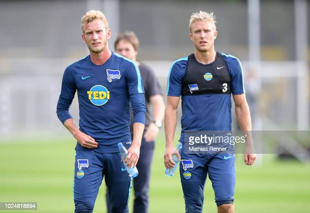 Fabian Lustenberger and Per Skjelbred of Hertha BSC after the training at the Schenkendorfplatz on august 28 2018 in Berlin Germany