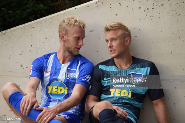 Fabian Lustenberger and Per Skjelbred of Hertha BSC during the training camp on august 8 2018 in Schladming Austria