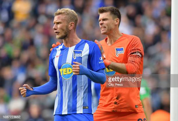 Fabian Lustenberger and Rune Almenning Jarstein of Hertha BSC after the game between Hertha BSC and Borussia Moenchengladbach at the Olympiastadion...