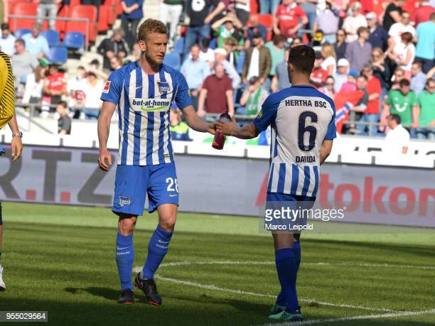 Fabian Lustenberger and Vladimir Darida of Hertha BSC after the Bundesliga game between Hannover 96 and Hertha BSC at HDI Arena on May 5 2018 in...