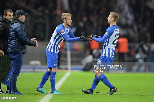 Fabian Lustenberger comes on during a substitute for Arne Maier of Hertha BSC during the game between Hertha BSC and the Eintracht Frankfurt on...