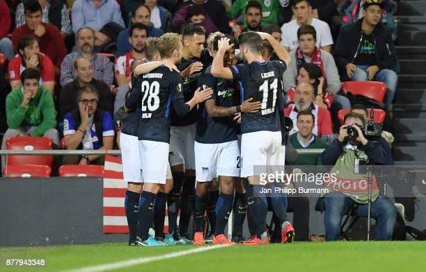 Fabian Lustenberger Davie Selke Valentino Lazaround Mathew Leckie of Hertha BSC celebrate after scoring the 12 during the UEFA Europe League Group J...