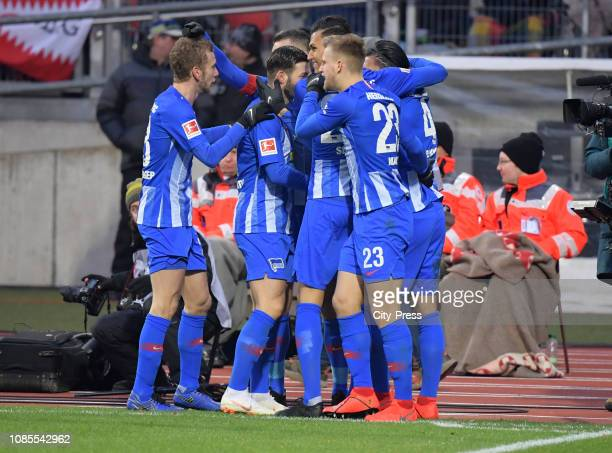Fabian Lustenberger Marvin Plattenhardt Davie Selke Arne Maier and Karim Rekik of Hertha BSC celebrate after scoring the 12 during the game between...