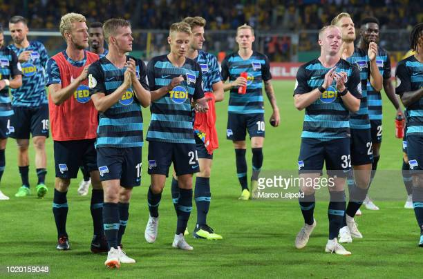 Fabian Lustenberger Maximilian Mittelstaedt Palko Dardai Dennis Jastrzembski and Arne Maier of Hertha BSC after the game between Eintracht...
