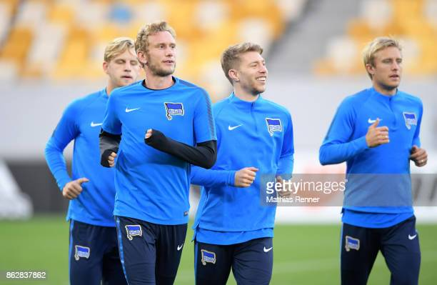 Fabian Lustenberger Mitchell Weiser and Per Skjelbred of Hertha BSC during their training session on October 18 2017 in Luhansk Ukraine
