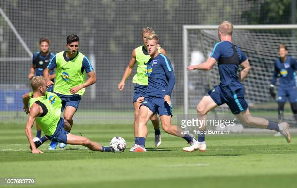 Fabian Lustenberger Muhammed Kiprit Per Skjelbred and Arne Maier of Hertha BSC during the training at the Schenkendorfplatz on July 30 2018 in Berlin...