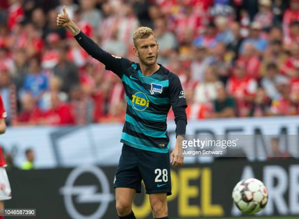 Fabian Lustenberger of Berlin gestures during the Bundesliga match between 1 FSV Mainz 05 and Hertha BSC at Opel Arena on October 6 2018 in Mainz...