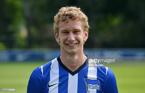 Fabian Lustenberger of Berlin pose during the official Hertha BSC Berlin team presentation at the training ground of the team on June 28 2013 in...