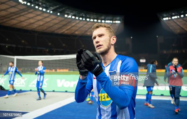 Fabian Lustenberger of Hertha BSC after the Bundesliga match between Hertha BSC and FC Augsburg at Olympiastadion on December 18 2018 in Berlin...