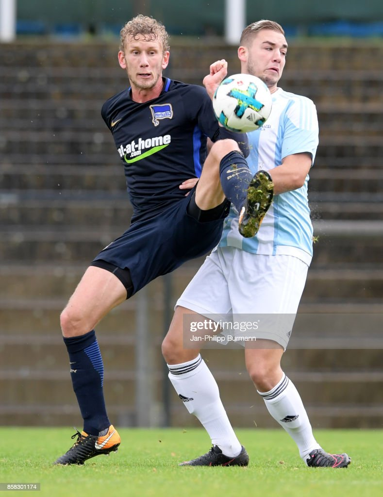 Fabian Lustenberger of Hertha BSC and Kevin Gempf of the Polizeiauswahl during the test match between Hertha BSC and the Polizeiauswahl on october 6, 2017 in Berlin, Germany.