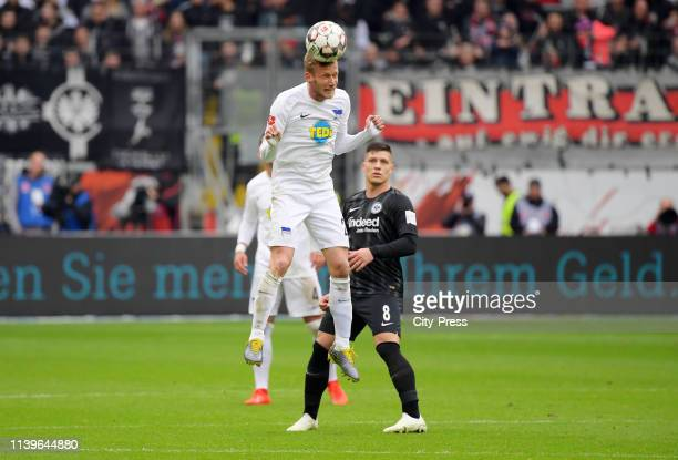 Fabian Lustenberger of Hertha BSC and Luka Jovic of Eintracht Frankfurt during the Bundesliga match between Eintracht Frankfurt against Hertha BSC on...