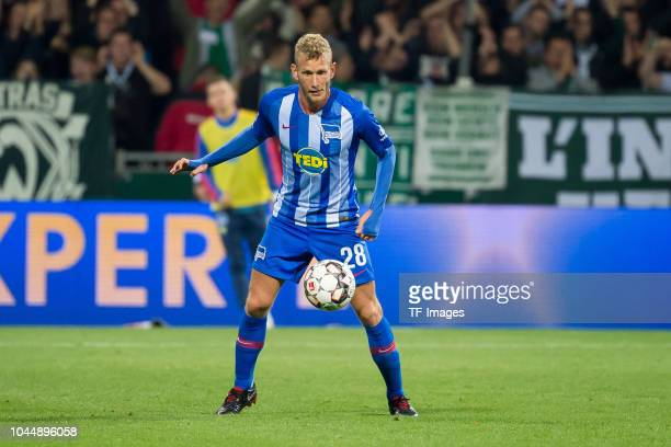 Fabian Lustenberger of Hertha BSC controls the ball during the Bundesliga match between SV Werder Bremen and Hertha BSC at Weserstadion on September...