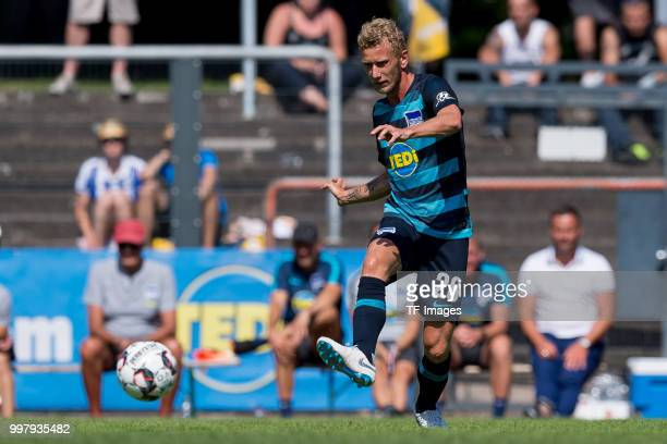 Fabian Lustenberger of Hertha BSC controls the ball during the TEDiCup match between Hertha BSC and MSV Duisburg on July 8 2018 in Herne Germany
