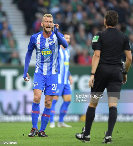 Fabian Lustenberger of Hertha BSC during the Bundesliga match between SV Werder Bremen and Hertha BSC at Weserstadion on September 25 2018 in Bremen...