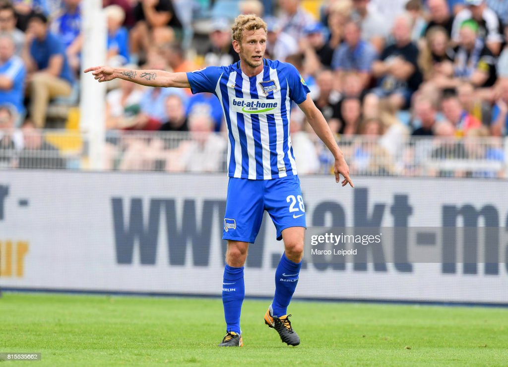 Fabian Lustenberger of Hertha BSC during the test match between Carl-Zeiss Jena and Hertha BSC on july 16, 2017 in Jena, Germany.