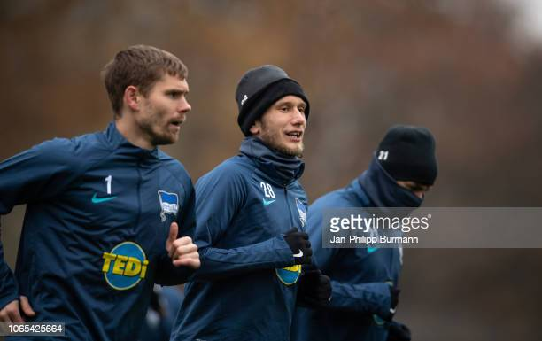 Fabian Lustenberger of Hertha BSC during the training session at Schenkendorfplatz on November 26 2018 in Berlin Germany