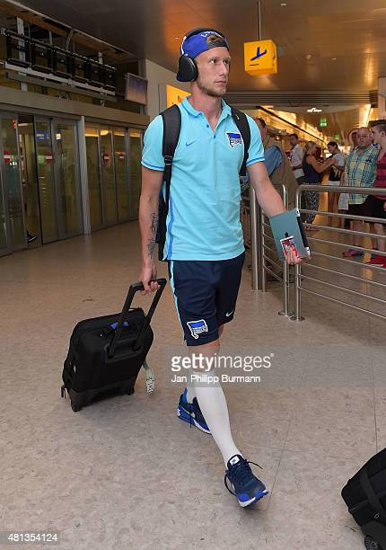 Fabian Lustenberger of Hertha BSC during their arrival at Salzburg Airport ahead of the training camp in Schladming on July 19 2015 in Salzburg...