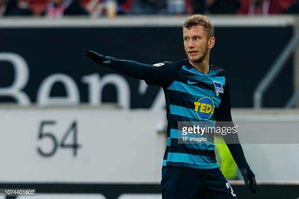 Fabian Lustenberger of Hertha BSC gestures during the Bundesliga match between VfB Stuttgart and Hertha BSC at MercedesBenz Arena on December 15 2018...